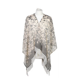Poncho Style Summer Beach Covering with Tassel in Black and Brown (Length 60cm)