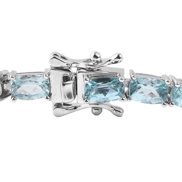 Paraibe Apatite Bracelet (Size 7) in Rhodium Overlay Sterling Silver 13.50 Ct, Silver wt 10.50 Gms