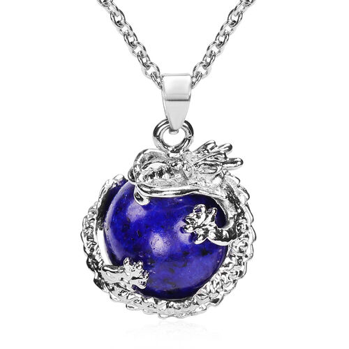 2 Piece Set - Lapis Lazuli Hook Earrings and Pendant with Chain Stainless Steel 85.00 Ct.