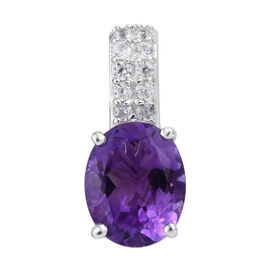 Moroccan Amethyst and Natural Cambodian Zircon Solitaire Design Pendant in Sterling Silver 2.75 Ct