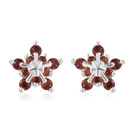 0.75 Ct Mozambique Garnet Floral Earrings in Sterling Silver With Push Back