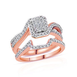 New York Close Out- Set of 2 14K Rose Gold Diamond (Bgt and Rnd) (I1-I2/G-H) Ring 1.000 Ct., Gold wt 7.50 Gms.