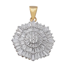ELANZA Simulated Diamond (Bgt and Rnd) Cluster Pendant in Yellow Gold Overlay Sterling Silver