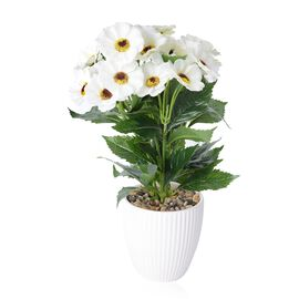 Summer Blooms - Realistic Effect Artificial Flower Pot - White Coreopsis