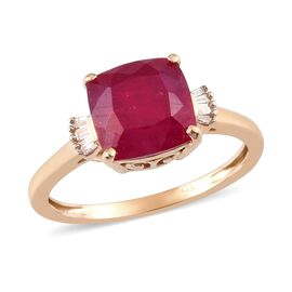 9K Yellow Gold African Ruby and White Diamond Ring 3.50 Ct.