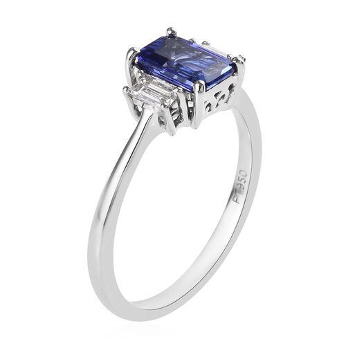 RHAPSODY 950 Platinum AAAA Tanzanite (Oct), Diamond (VS/E-F) Ring 1.10 Ct.