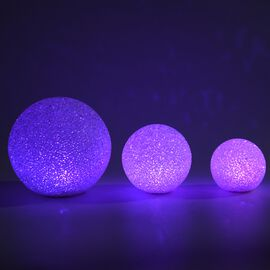 Set of 3 - White Light LED Decorative Balls (Dia: 8/10/15 Cm) (Battery included)