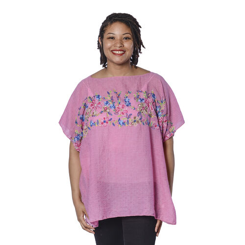 Super Soft Pink Kaftan Top with Multi Colour Embroidery (UK Size - up to 20)