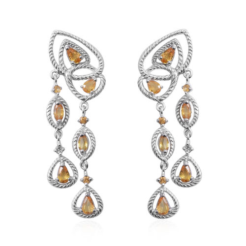 Chanthaburi  Yellow Sapphire (Pear and Mrq) Dangle Earrings (with Push Back) in Rhodium Overlay Sterling Silver 2.700 Ct, Silver wt 5.00 Gms