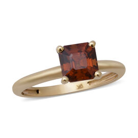 9K Yellow Gold Sunset Zircon (Asscher Cut) Solitaire Ring 2.75 Ct.