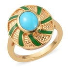 Arizona Sleeping Beauty Turquoise Enamelled Ring (Size N) in 14K Gold Overlay Sterling Silver 1.00 Ct.