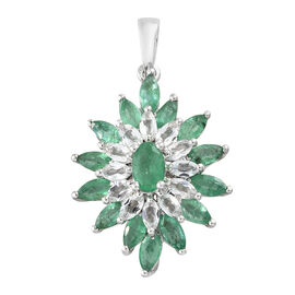 Kagem Zambian Emerald (Ovl and Mrq), White Topaz Pendant in Platinum Overlay Sterling Silver 3.250 Ct.