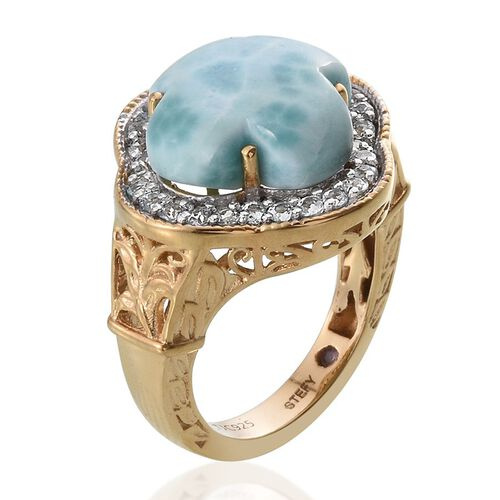 Stefy Larimar, Sky Blue Topaz and Pink Sapphire Ring in 14K Gold Overlay Sterling Silver 14.000 Ct.