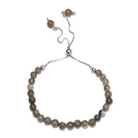 One Time Deal- Labradorite (Rnd) Bracelet (Size 10.5 Adjustable) in Platinum Overlay Sterling Silver