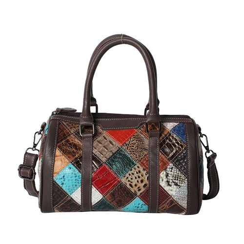 100% Genuine Leather Diamond Pattern Bowling Bag with Detachable Shoulder Strap (Size 28x16x16 Cm- M