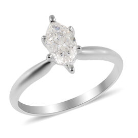 NY Close Out Deal- 14K White Gold IGL Certified Diamond (Mrq 9X4mm) (I1-I2/G-H Ring 0.750 Ct. (Size
