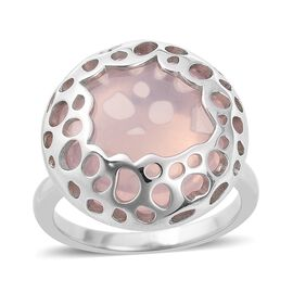 RACHEL GALLEY 15.96 Ct Rose Quartz Ring With Lattice Work in Sterling Silver 5.92 Grams