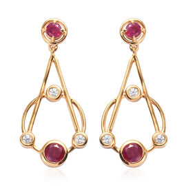 Designer Inspired African Ruby and Natural Cambodian Zircon Dangle Earrings (with Push Back) in 14K