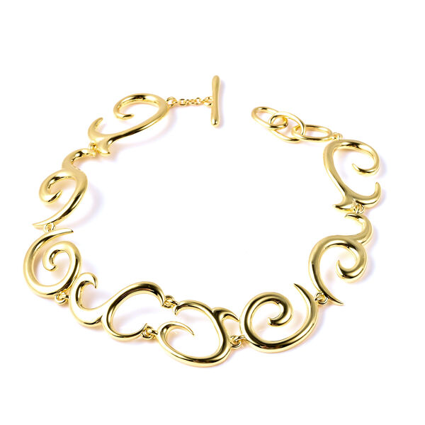 LucyQ Swirl Bracelet (Size 8.5) in Yellow Gold Overlay Sterling Silver