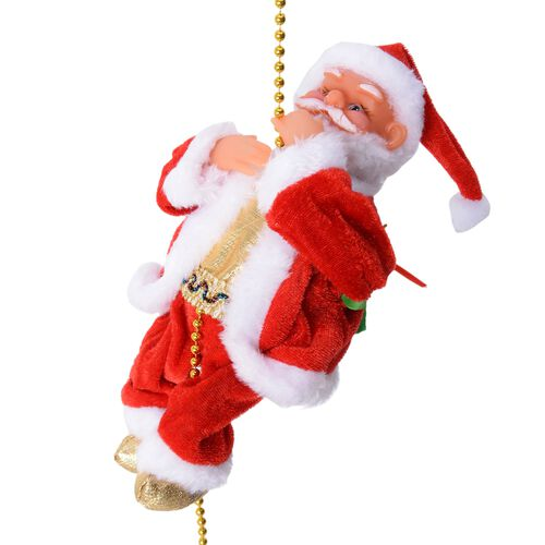 Christmas Decorations Singing Santa Claus is Climbing on a Rope (Size 22x10 Cm)