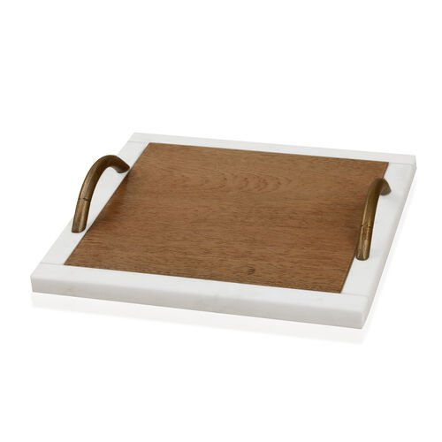 Square Shape Wooden Cake Tray with Marble Edges and Handle (Size 23X23 Cm)