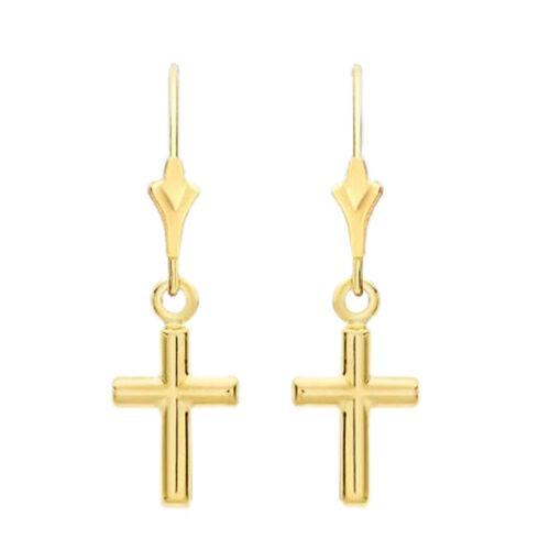 9K Yellow Gold Cross Drop Fancy Lever Back Earrings