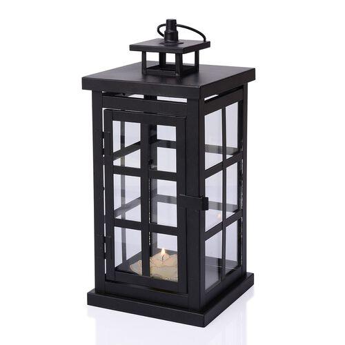 Square Grid Design Black Colour Cage Lantern (Size 32x12 Cm)
