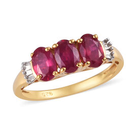 African Ruby (Ovl 6x4 mm), Diamond Ring in 14K Gold Overlay Sterling Silver 1.95Ct.