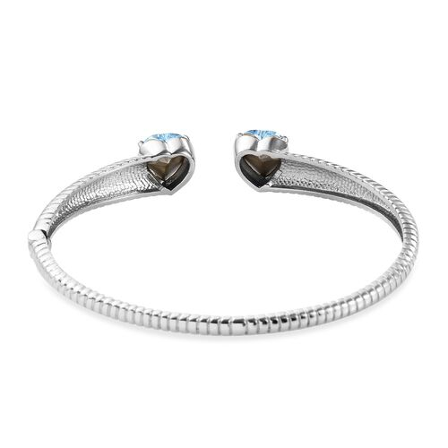 J Francis Crystal from Swarovski Aquamarine Colour Crystal Heart Bangle (Size 7.5) in Stainless Steel