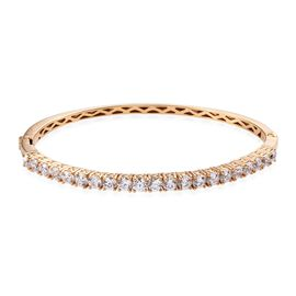Super Auction - J Francis 14K Gold Overlay Sterling Silver (Rnd) Bangle (Size 7.5) Made with SWAROVS