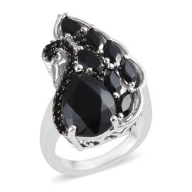 7.75 Ct Boi Ploi Black Spinel Cluster Ring in Platinum Plated Silver 6.30 Grams
