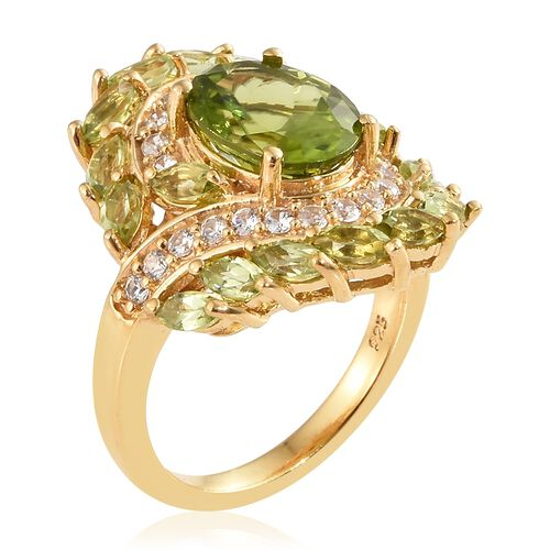 Hebei Peridot (Ovl), Natural Cambodian Zircon Ring in 14K Gold Overlay Sterling Silver 4.500 Ct, Silver wt 5.92 Gms.