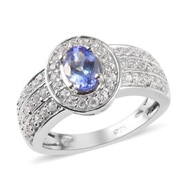 AA Tanzanite (Ovl), Natural Cambodian Zircon Ring in Platinum Overlay Sterling Silver 1.06 Ct.