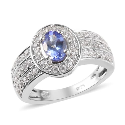 1.06 Ct AA Tanzanite and Zircon Halo Ring in Platinum Plated Sterling Silver