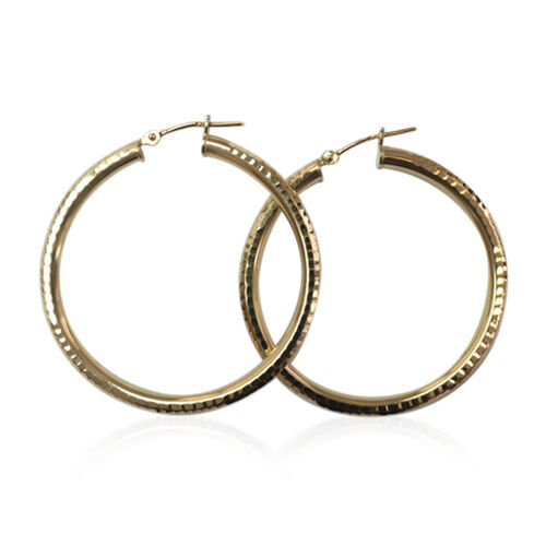 Italian Made 9K Yellow Gold Hoop Earrings (with Clasp Lock) Gold Wt 2.70 Gms