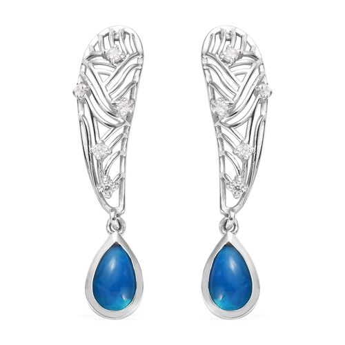 Miami Blue Welo Opal and Natural Cambodian Zircon Earrings in Platinum Overlay Sterling Silver 1.25