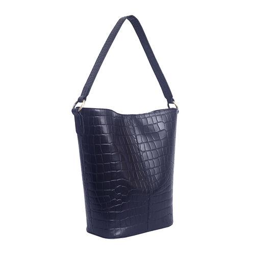 Assots London AMELIA Croc Leather Bucket Bag (35X13X34cm) - Navy