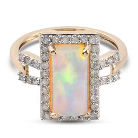 9K Yellow Gold AA Ethiopian Welo Opal and Diamond Ring 2.25 Ct.