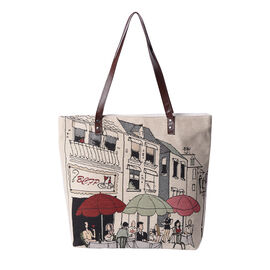 Streetscape Pattern Large Tote Bag (Size 35x11x39 Cm) - Beige and Multi