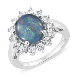 Australian Boulder Opal (Ovl), Natural White Cambodian Zircon Halo Ring in Platinum Overlay Sterling Silver