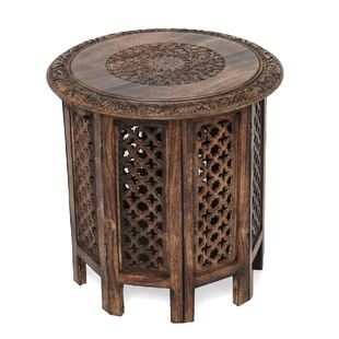 NAKKASHI Hand Craved Mango Wood Table with Floral Carvings and Jali Stand in Antique Burn Finish Brown Colour