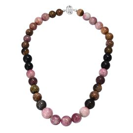 Rare Size 530 Ct Multi-Tourmaline Beaded Necklace in Sterling Silver 4.75 Grams 18 Inch