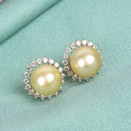 Golden South Sea Pearl and Natural Cambodian Zircon Earrings (with Push Back) in 14K Gold Overlay Sterling Silver