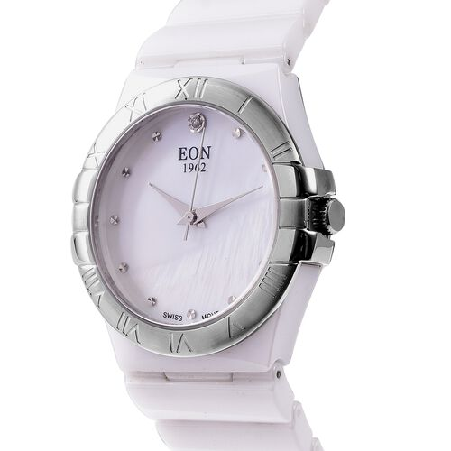 EON 1962 Swiss Movement Water Resistance Diamond Studded Watch with White Mother of Pearl Dial, Blue Sapphire and White Ceramic Strap in Silver Plating