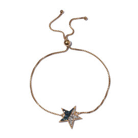 Blue and White Diamond (Rnd) Star Bracelet (Size 6.5 - 9.5 Adjustable) in 14K Gold and Platinum Over
