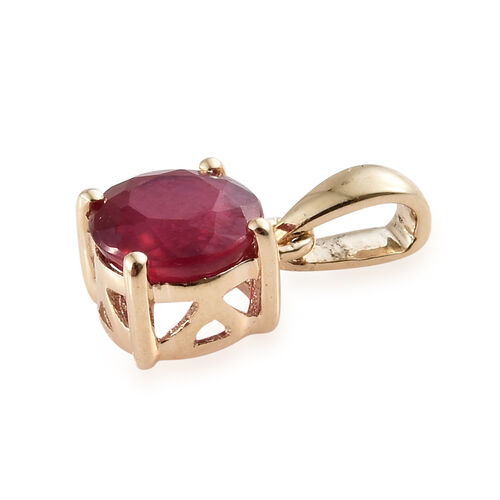 9K Yellow Gold AAA African Ruby (Rnd) Pendant 1.250 Ct.