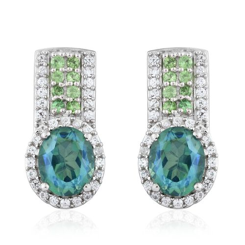 Peacock Quartz (Ovl), Natural Cambodian Zircon and Tsavorite Garnet Earrings (with Push Back) in Pla