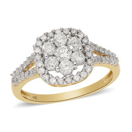 9K Yellow Gold SGL Certified White Diamond (I3/G-H) Ring 1.00 Ct.
