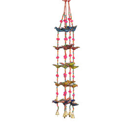Set of 5 - Handmade and Handpainted Bird Motif Decorative Hanging Strings (Size 86x5 Cm) - Multicolo