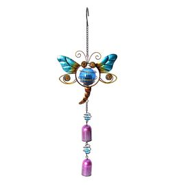 Home Decor - Solar Energy Powered Blue Dragonfly Hanging Windchime (Size 50.5x17.5 Cm)